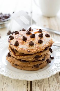 Healthy Whole Wheat Chocolate Chip Pancakes on MyRecipeMagic.com
