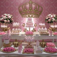 Discover thousands of images about Pink and gold party 1st Birthday Princess, Princess Theme, Baby Shower Princess, Girl Birthday, Gold Party Decorations, Birthday Party Decorations, Quinceanera Themes, Tea Party Baby Shower, Cinderella Party