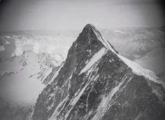 """Finsteraarhorn von Norden. LBS_MH02-08-0180. User Daniel: """"Dieses Bild zeigt das Finsteraarhorn, 4274m, mit dem NW-Grat, im Bild nach rechts unten verlaufend. Blick in die Nordflanke des Gipfels, Blickrichtung ca. SSW, ca. 160°."""" Image Archive, Funny Socks, Mountains, Travel, Photo Illustration, Silly Socks, Viajes, Trips, Traveling"""