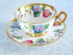 Vintage Tea Cups and Saucers by Royal Chelsea - Royal Chelsea Bone China Teacup Set - Morning Glory Floral Cup and Saucer Set Vintage Coffee, Vintage Tea, Cup And Saucer Set, Tea Cup Saucer, Teapots And Cups, Teacups, China Tea Sets, Bone China Tea Cups, My Cup Of Tea