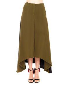 PETAR PETROV Long silk skirt high waist green in front, black in back two side pockets  asymmetric hem front closure with hidden zipper 100% SE