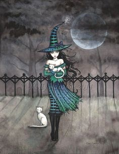 """""""Just Before Midnight - Witch with White Cats"""" by Molly Harrison (MollyHarrisonArt) on etsy"""