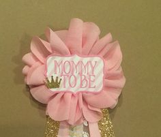 Pink and gold Baby Shower Mommy-to-be Flower Ribbon by afalasca