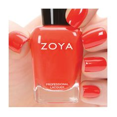 Zoya Nail Polish in Rocha. Rocha by Zoya can best be described as a classic folly red cream with warm undertones that enhance a summer glow! Flawlessly opaque in 2 coats.