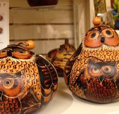 Painted owls that were gourds in a former life in Peru. When did the los Peruvianos get so hip?