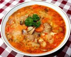 (3) Bakonyi betyárleves   Alajuli receptje - Cookpad receptek Hungarian Cuisine, Hungarian Recipes, Hungarian Food, Soup Recipes, Cooking Recipes, Kinds Of Soup, Veggie Soup, Yummy Food, Tasty