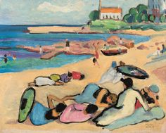 Gabriele Münter – Beach at Bornholm, German expressionist painter who was at the forefront of the Munich avant-garde in the early century. Wassily Kandinsky, Illustrations, Art And Illustration, Cavalier Bleu, Women Artist, Figurative Kunst, Franz Marc, Kunst Online, Art Online