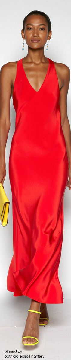 SPRING 2016 READY-TO-WEAR Polo Ralph Lauren red maxi dress women fashion outfit clothing style apparel @roressclothes closet ideas