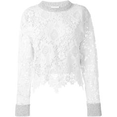 See By Chloé Lace Sweater ($422) ❤ liked on Polyvore featuring tops, sweaters, white top, white long sleeve top, white sweater, scalloped top et lace top
