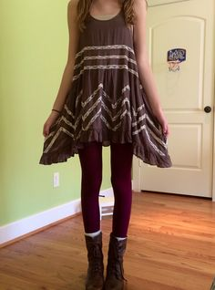 Free people dress and maroon tights
