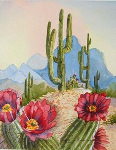 Saguaro and hedgehog cactus in the desert watercolor painting 10x8