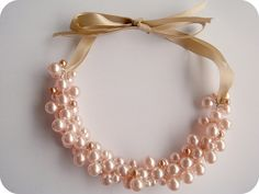 Ribbon & Pearl Cluster Necklace