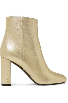 Saint Laurent - Lou Lou Metallic Textured-leather Ankle Boots - Gold - IT