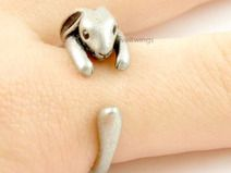 bunny Animal  Ring, Antique Bronz,Silver plated