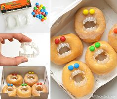 These Halloween monster donuts are an AWESOME treat idea! They take less than five minutes to make and will most likely make someone laugh... or freak them out. But I think I'd be happy with either one of those outcomes!