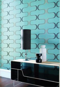 Virtue Blue Wall Covering - Contour from Harlequin @Britney Chickenpow Neidlinger Design