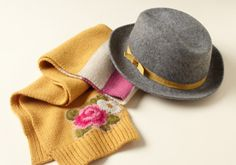 Monnalisa Accessories -   Florals, stripes and sequins, oh my! This adorable collection from Monnalisa is the perfect way to add sophisticated fun to your little girls' wardrobe. A studded collar or headband. Playful (and patriotic) stars and striped tights or beret. And a metallic-accented wool fedora. If only...  #Beret, #Fedora, #Headband, #Pan, #Rhinestone, #Scarf, #Tie, #Tights