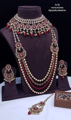 Bridal Necklace Set, Bridal Jewelry Sets, Ring Necklace, Earrings, Kundan Set, Jewelry Collection, Temple Jewellery, Wedding Styles, Fashion Jewelry