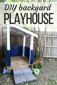 This simple DIY playhouse is the perfect place for toddlers and young kids to play in the backyard. It's easy to build and is the perfect playhouse to encourage imaginative play!