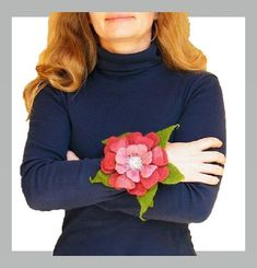 #RosePink #Bracelet #CharmBracelet #FeltFlower #Giftforher #etsyshop #melmetextil