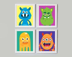 Set 4 Monsters Printable, Cute Monsters Art Print, Nursery Art Print, Nursery Decor, Instant Download, Monsters Wall Art Decor, Funny Print