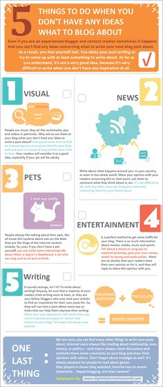 5 Blogging ideas for when you have no idea what to blog about #infographic #ContentMarketing www.socialmediamamma.com