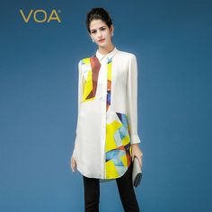 Find More Blouses & Shirts Information about Yellow and white splice blouse for women VOA long sleeve turn down collar silk dobby shirts plus size ladies long blouse B7369,High Quality B7369 from VOA Flagship Shop on Aliexpress.com