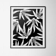 Black & White Print, Tropical Poster Instant Download, 16 x 20 Poster, Tropical Leaf Print, Tropical Glam Decor, Tropical Decor, Modern Art by OlaHolaHola on Etsy