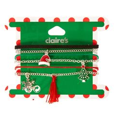 Mixed Christmas Charm Bracelets   Celebrate the most wonderful time of the year with some festive Mixed Xmas Charm Bracelets! This 6 pack includes black, red, and green thin fabric bracelets as well as 3 silver chain bracelets with charms including a santa hat, christmas tree, and a silver snowflake.