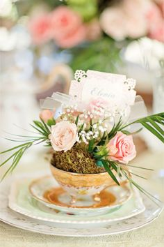 Flower teacup place card / Bradley James Photography