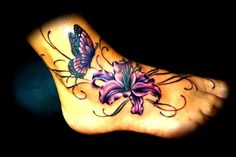 Butterfly and flower #tattoo
