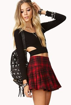 Sexy Black Top and Red Plaid Skirt Schoolgirl Set | Red plaid