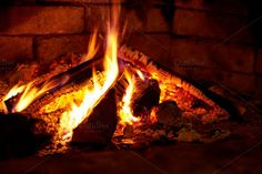 Burning flame fire in fireplace by HighRes Pictures on @creativemarket