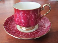 Royal Albert Teacup Cup Saucer Red w White Scrolls Gold Trim Cream on Inside | eBay