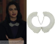 """Riverdale: Season 1 Episode 4 Veronica's Pearl Collar   Shop Your TV Veronica Lodge (Camila Mendes) wears this layered pearl collar necklace in this episode of Riverdale, """"The Last Picture Show"""".  It is the Niceeshop False Collar Necklace."""