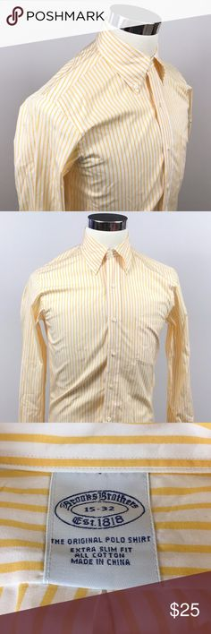Brooks Brothers Mens 15 32 Extra Slim Fit Shirt Brooks Brothers Mens 15 32 Extra Slim Fit Cotton Dress Shirt Yellow Striped  Measurements (inches): Pit to Pit (across the chest): 20 Sleeve (center collar to cuff): 32 Length (top of collar to hem): 32.5  Condition:  This item is in good pre-owned condition! Free from rips & stains.  All items come from a smoke/ pet free environment. Brooks Brothers Shirts Dress Shirts