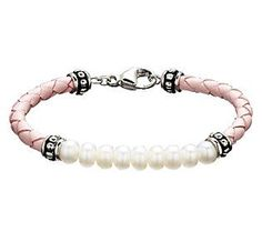 Honora Girls Cultured Freshwater Pearl & Leather Bracelet
