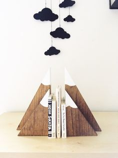 Stained Wood Mountain Bookends (large and small set), wooden mountains, children's bookends, mountain blocks, woodland nursery by SpilledMilkDesigns on Etsy https://www.etsy.com/listing/464164720/stained-wood-mountain-bookends-large-and