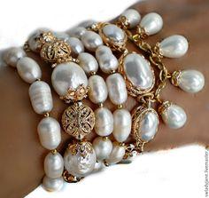 Купить Браслет (Серьги) с барочным жемчугом Жемчужное чудо - браслет, браслет с жемчугом, браслет с подвесками