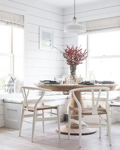 It was so nice to set the dining room up for the first time since renovations completed at the beach house. We had to keep pinching ourselves that it was really happening! We love to entertain but it's not that practical in our small one bed rental in the Scandinavian Holidays, Scandinavian Interior, Beach House Kitchens, Home Kitchens, Nautical Dining Rooms, Corner Bench Seating, Dining Nook, Beach House Decor, Home Decor