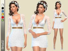 A short dress for modern brides, full of lace and very sexy. It can also be used as a cocktail dress in other five colors. Found in TSR Category 'Sims 4 Female Formal'
