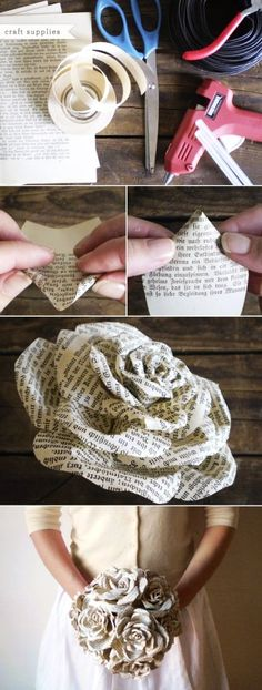 Storybook Paper diy Roses bouquet tutorial for wedding - paper roses crafts, outdoor decoration - LoveItSoMuch.com