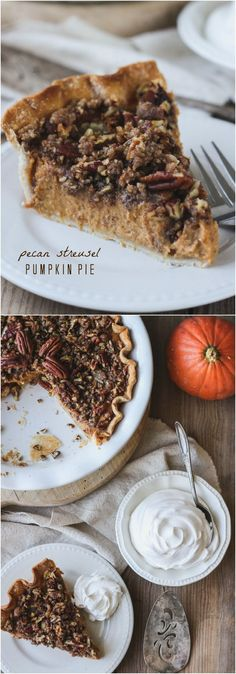 The perfect pumpkin pie topped with a crunchy, sweet pecan streusel! Perfect Pumpkin Pie, Pumpkin Pecan Pie, Pumpkin Pudding, Pumpkin Pie Recipes, Baked Pumpkin, Pumpkin Dessert, Köstliche Desserts, Holiday Desserts, Holiday Recipes