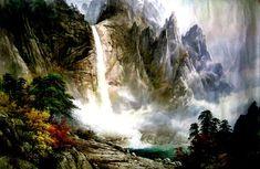 문정웅 그림『금강산 만물상』, 그는 1944년 평양에서 출생. 평양미대를 졸업 후, 만수대창작사에서 40여년간 활동하였다. 그의 작품은 색채가 풍부하고 필치가 활달하며 특히 금강산의 가을 Jungle Scene, North Korea, Waterfall, Outdoor, Vintage Pictures, Sculpture, Outdoors, Waterfalls, Outdoor Games
