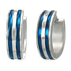Silver & Blue Unisex Stainless Steel Hoop Huggie Earrings - Timeless Treasures - Free gift bag with purchase