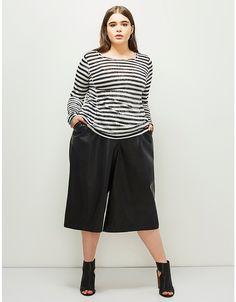 c8df679e129 6th   Lane Faux Leather Cropped Wide Leg Pant. Trendy Plus Size ClothingPlus  ...