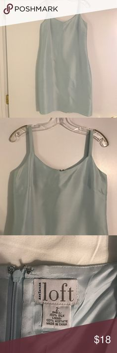 """Silk Ann Taylor dress Beautiful light blue Ann Taylor Loft silk dress. I absolutely have always loved this dress, but I have outgrown it. It is like new. I am 5'6""""and it hits me about 1 1/2 to 2 inches above-the-knee Ann Taylor Dresses Midi"""