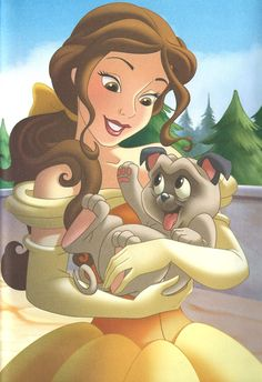 Princess Belle's New Puppy by unicornsmile Disney Princess Pictures, Disney Princess Drawings, Disney Princess Art, Disney Nerd, Arte Disney, Disney Fan Art, Disney Pictures, Disney Girls, Disney Drawings