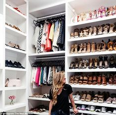 A sneak peak inside the closet of fashion blogger Brighton Keller, complete with perfect rows of line-up shoes, designer handbags on full display and perfectly-hung clothes