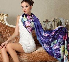 Long Women's Silk Luxury Shawl Scarf – Zorket